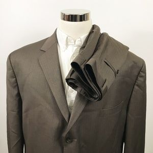 Michael Kors Mens 50R Suit 42 x 29 Brown Striped